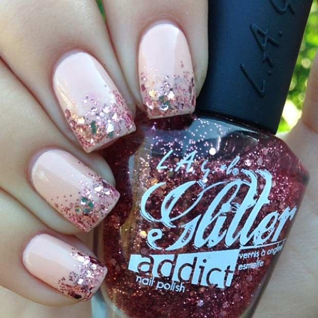 55 Super Easy Nail Designs in 2016   Accent nails, Glitter ombre ...