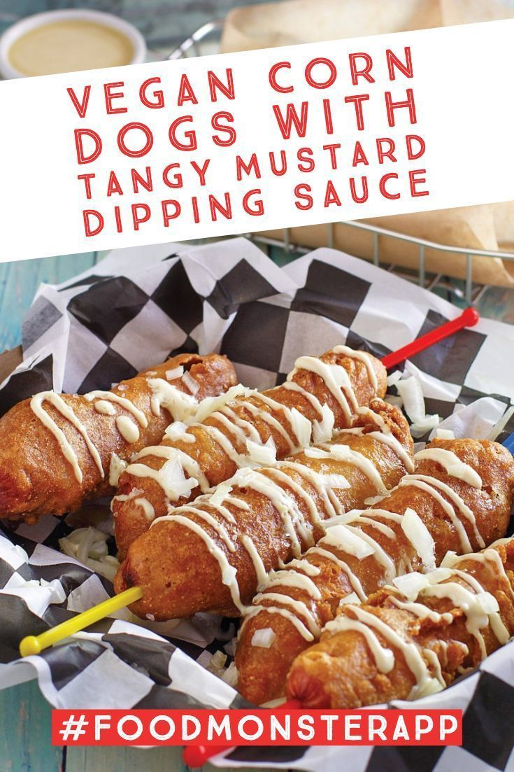 Corn Dogs With Tangy Mustard Dipping Sauce Vegan In 2019