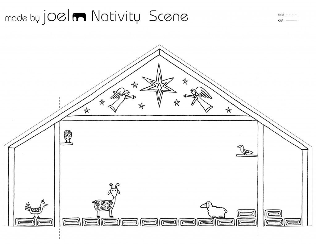 Made By Joel Paper City Nativity Scene Template Kids Craft 1 With