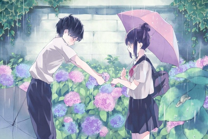 Anime Art Anime Couple Romantic Confession Rain