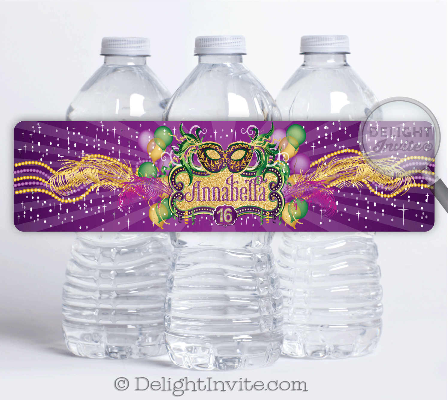 Mardi Gras Water Bottle Labels | Masquerade party ...