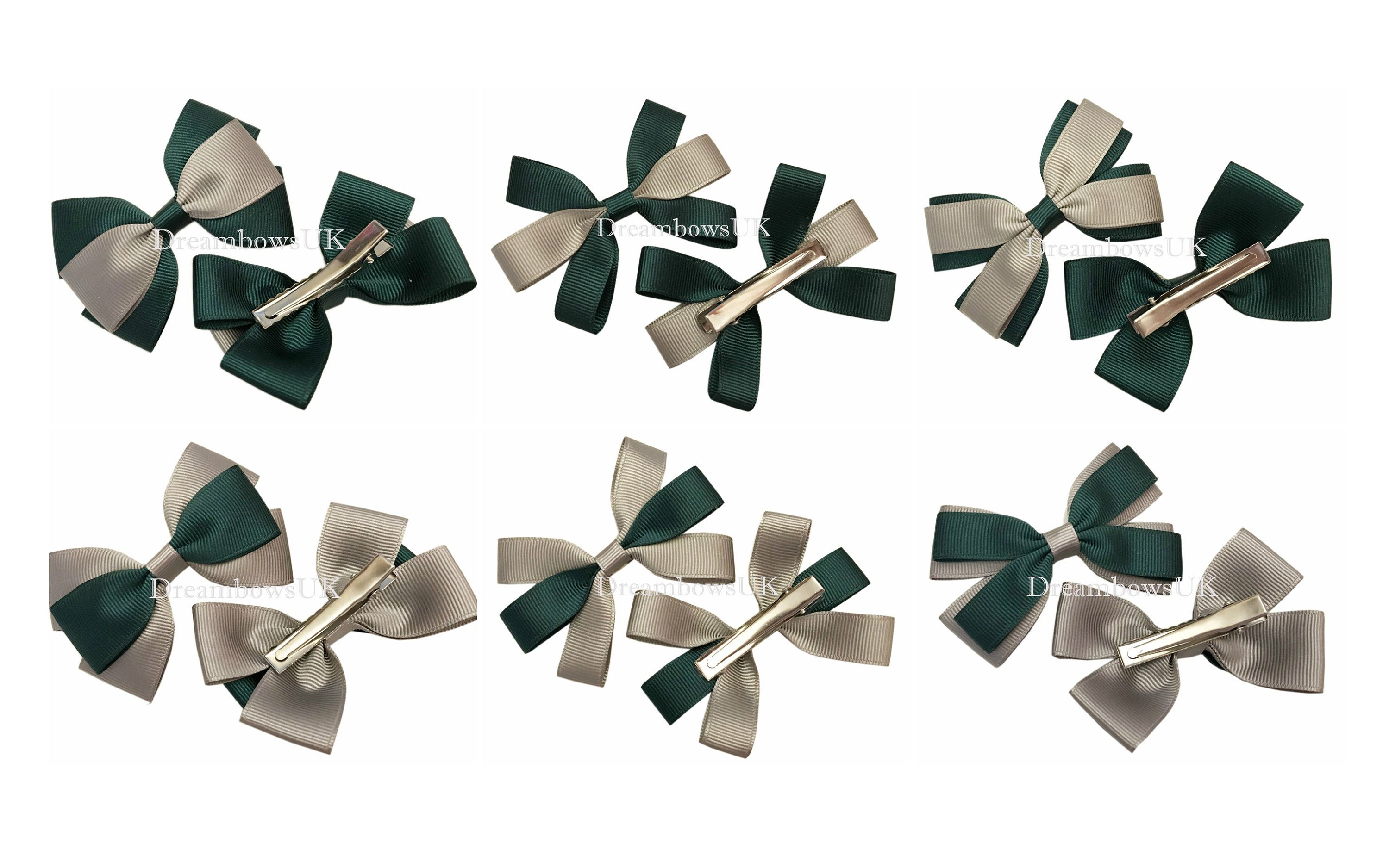 Bottle green and golden yellow school hair bows on alligator clips or bobbles