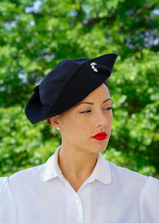 Vintage Black Breton Hat d3226bbd0c6