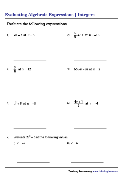 Evaluating Algebraic Expressions Worksheets In 2020 Algebraic Expressions Evaluating Algebraic Expressions Evaluating Expressions