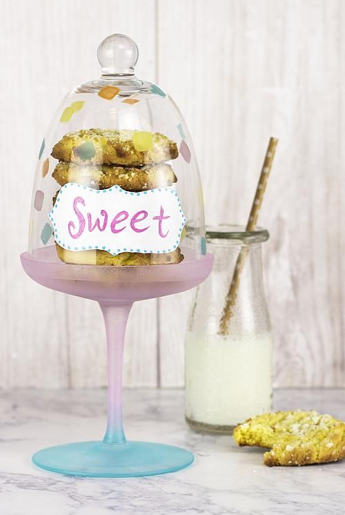 """""""Sweet"""" Pastel Colored Cupcake Plate -- Make a """"sweet"""" pastel colored cupcake plate!  #decoartprojects"""