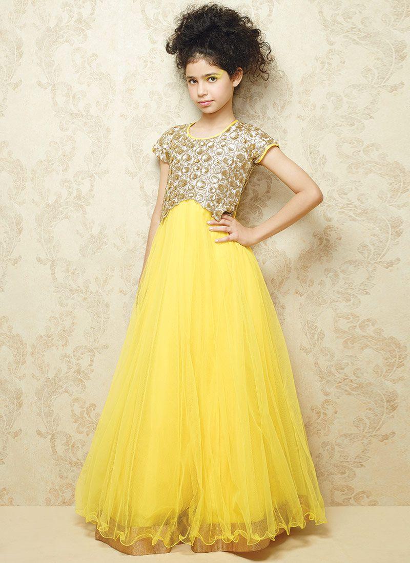 67d4bd36dea1c Yellow Net Gown | Hindu Home Mandir | Kids gown design, Kids gown ...