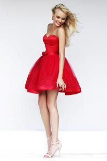 0e6965c77f23 Amazing Lace Detailed Strapless Sweetheart Red Cocktail Dress ...