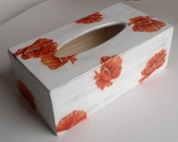 white wooden tissue box red weed by PtahArtGallery on Etsy, €20.00