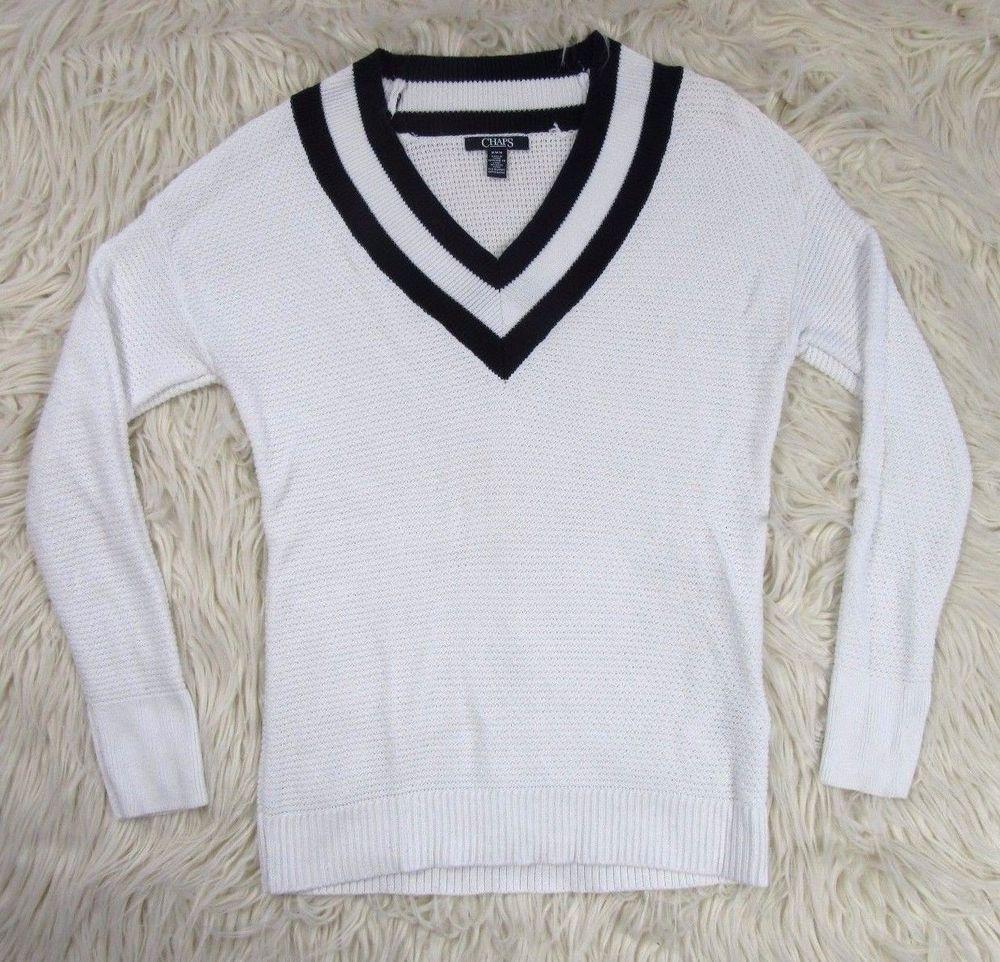 Ralph Lauren Chaps Womens Preppy Sweater Sz M, Collegiate Tennis White V- Neck #