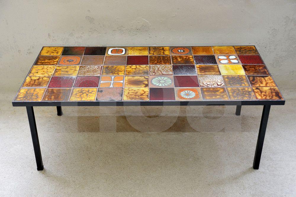 Table basse céramique Atelier La Roue de Vallauris - années 60