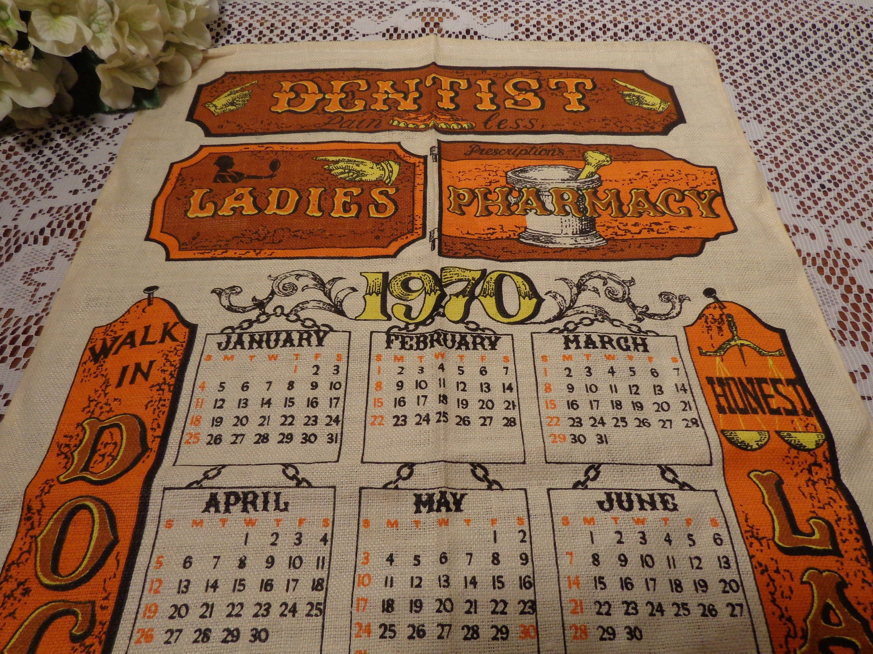 1970 Calendar Tea Towel Dentist Tea Towel 20 099 In 2020 Tea