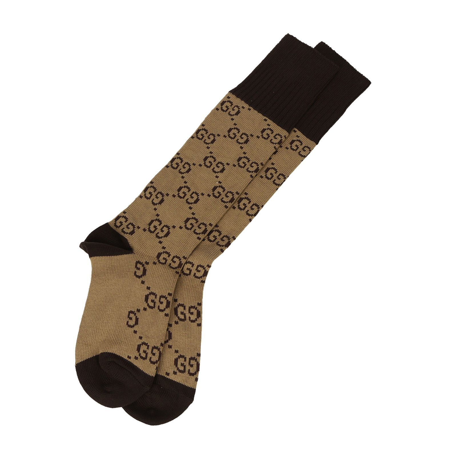 Shell Gucci Beige And Brown Gg Supreme Socks - Editorialist