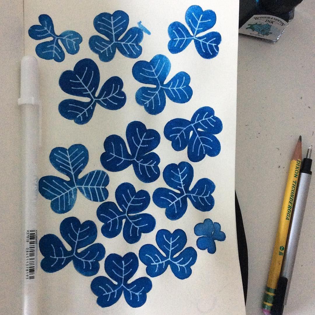 White on blue, #clovers #blue #pen #sketchbook #moleskine