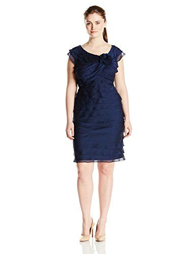 London Times Womens PlusSize Shutter Dress with Flower Embellishment Navy 16W -- Click on the affiliate link Amazon.com on image for additional details.