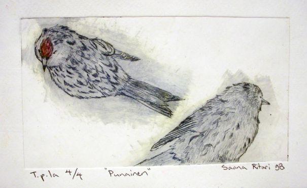 Piirrostutkielmien pohjalta tehtiin syväpainografiikkaa: lintusommitelma kaiverrettiin muovilaatalle ja sillä vedostettiin useita versioita grafiikan prässiä käyttäen.