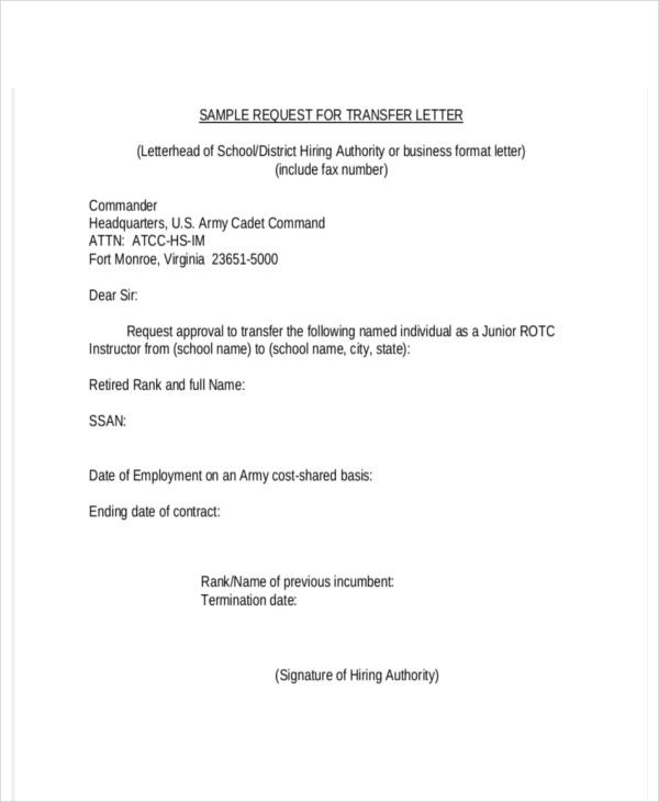 company transfer letter template free word pdf format download sample business requesting permission how write