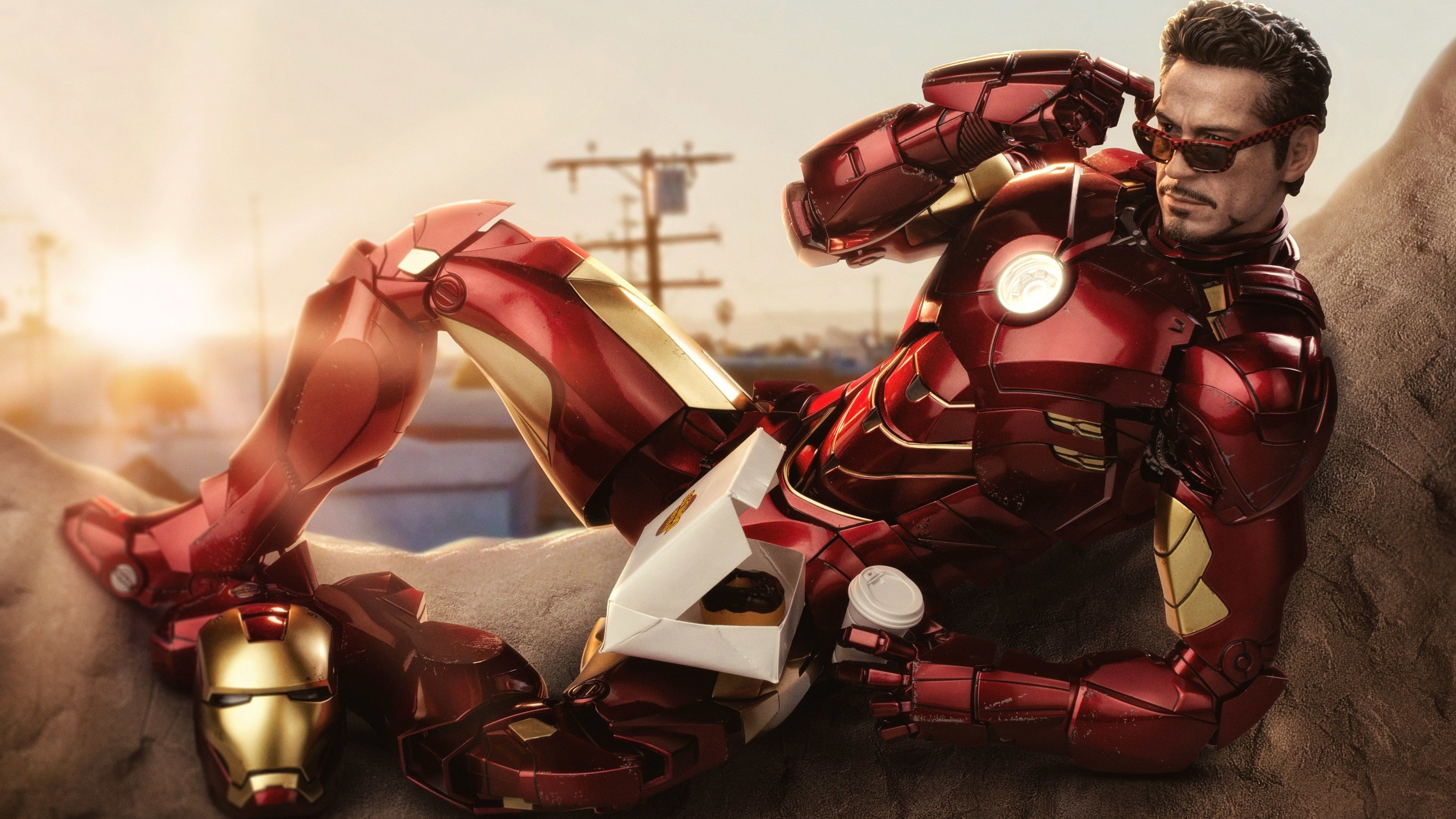 Iron Man Eating Dunkin Donuts With Coffee Superheroes Wallpapers Iron Man Wallpapers Hd Wallpapers 5k W Iron Man Wallpaper Superhero Wallpaper Man Wallpaper