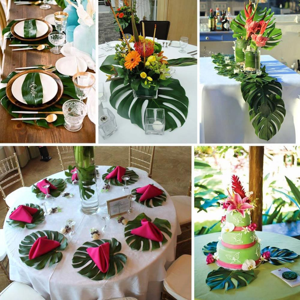 Beach party table decorations  plastic hawaiian tropical green leaves christmas luau beach party