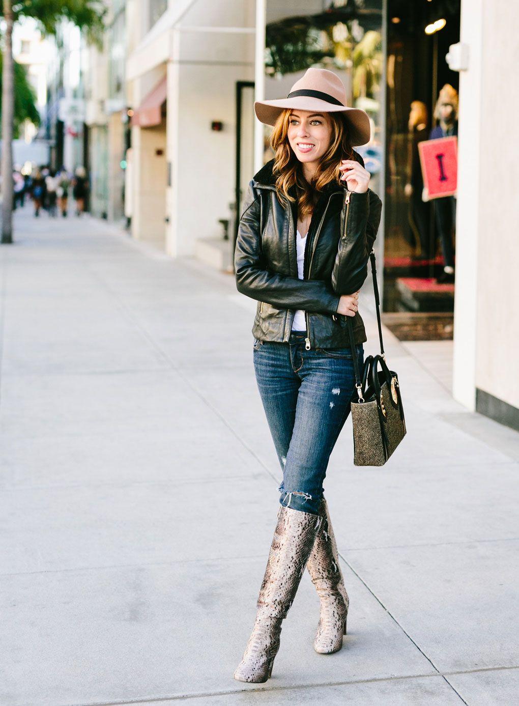 Sydne Style wears ASOS snakeskin boots Grey Boots Pinterest