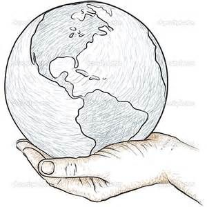 Travel The World Planet Earth Drawing Sketches Easy Globe Hands Holding Coloring Pages