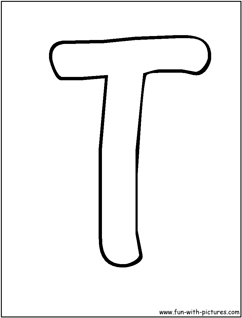 Alphabet Stencil Coloring Pages : Bubble letter t coloring pages