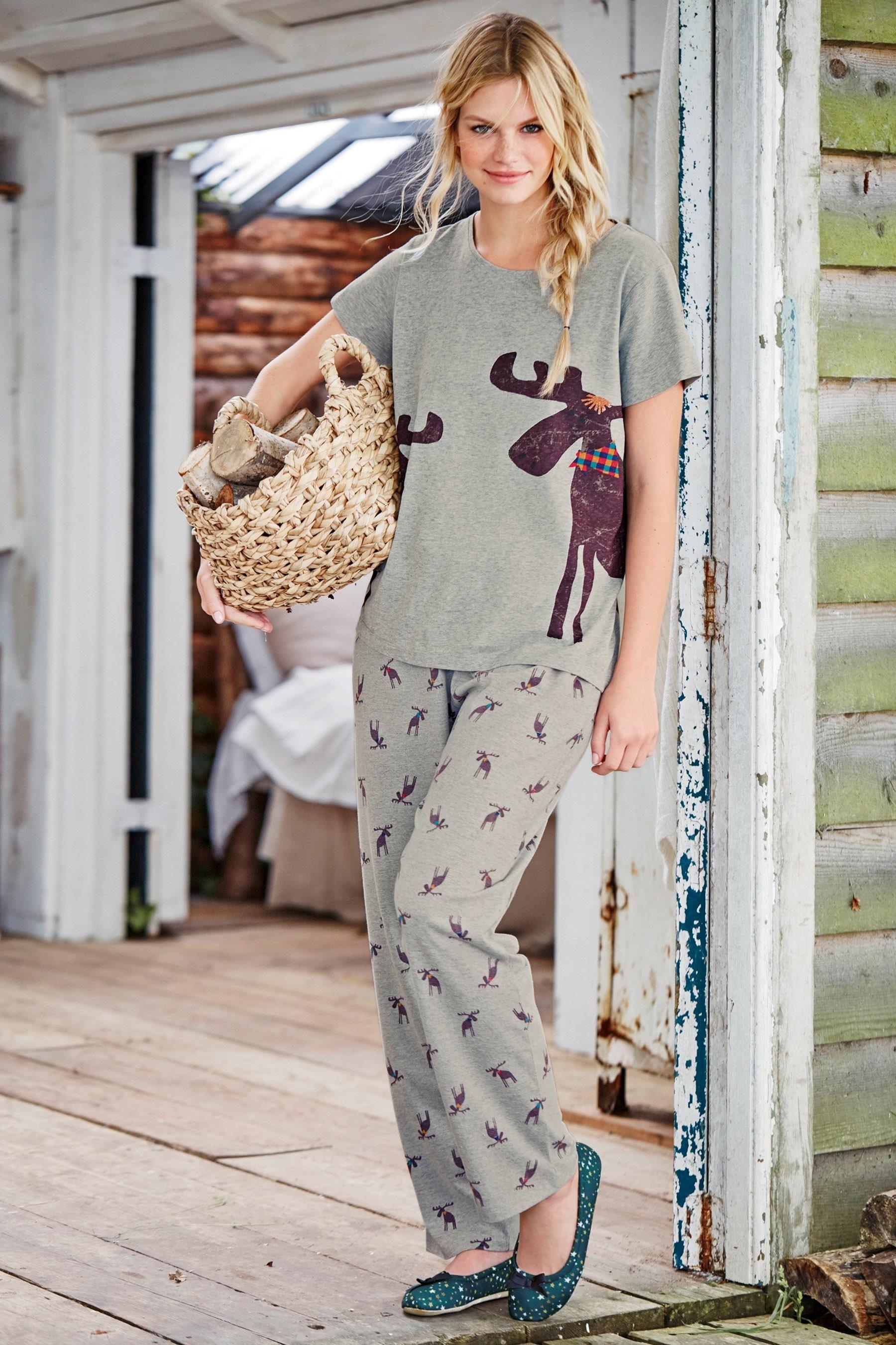 Buy Grey Jersey Moose Print Pyjamas from the Next UK online shop ... 444aea4ed