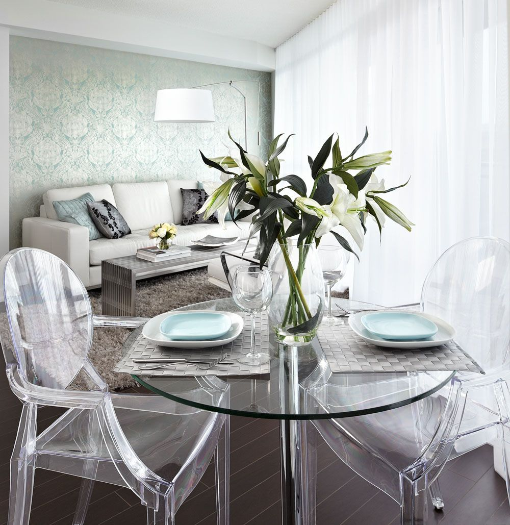 contemporary, condo dining room with glass dining table, ghost