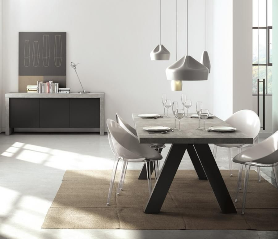 Temahome Apex, Modern Dining Table In Concrete / Black