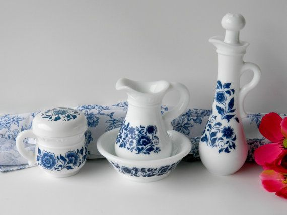Avon Delft Blue Milk Glass Trio Bedroom Vanity Decor Bathroom