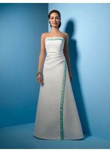Simple Blue A Line Princess Strapless Hall Wedding Dress With Sashes