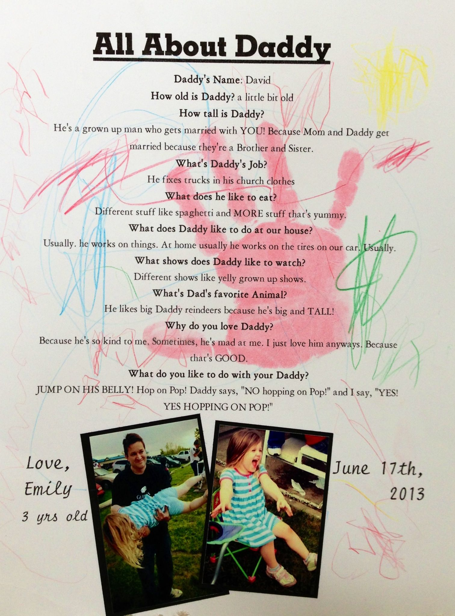 All In One Fathers Day Keepsake From Child Artwork Handprint Photos And Daddy Survey