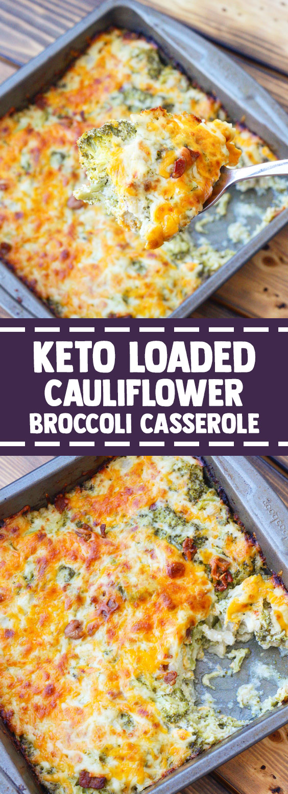 ★★★★★ 97 reviews: Keto Loaded Cauliflower Broccoli Casserole | This keto friendly cauliflower broccoli casserole is the perfect side dish to have on the dinner table. Loaded with bacon, cheddar cheese, and sour cream you won't even miss the potatoes in this dish! #keto #lowcarb #ketorecipes #ketodiet | foodlovers.fun #loadedcauliflowerbake