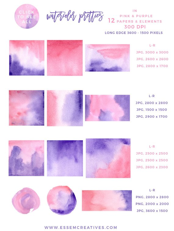 Pink And Purple Watercolor Splash Clipart Pink Ombre For Logo