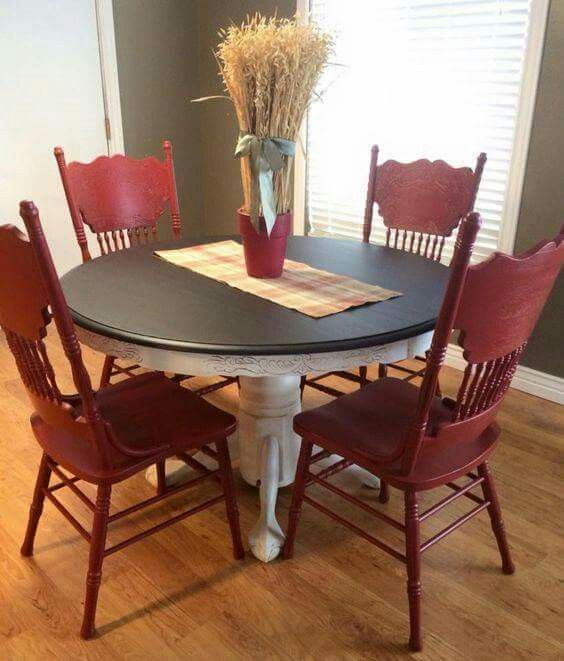Wow Deep Red Painted Kitchen Tables Kitchen Table Makeover