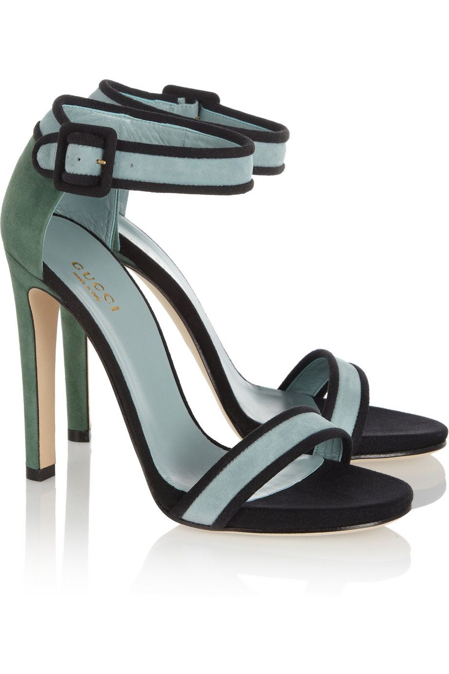 716c941be06 Gucci color-block suede sandals in light blue suede trimmed in black with  contrasting dark green heel-gorgeous summer sandal