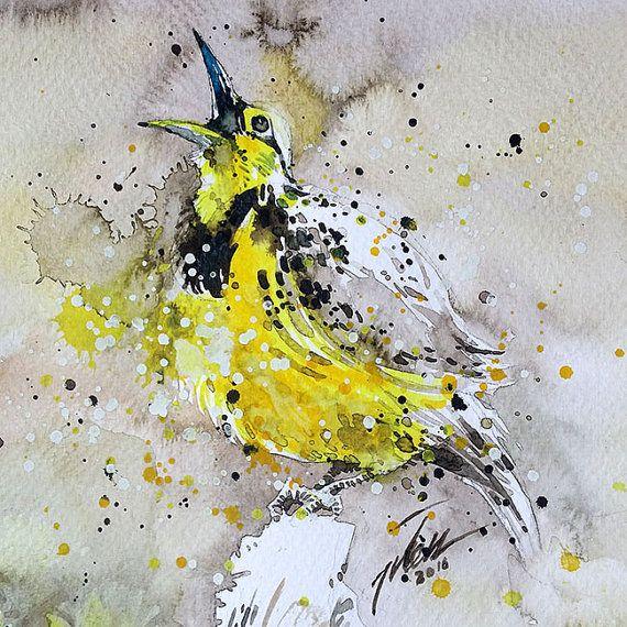 Meadowlark Original Painting By Tilen Ti 6x6 15x15cm Series