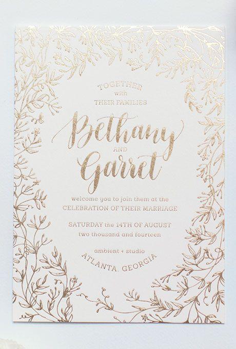 gold foil wedding invitations wedding invitations save the dates