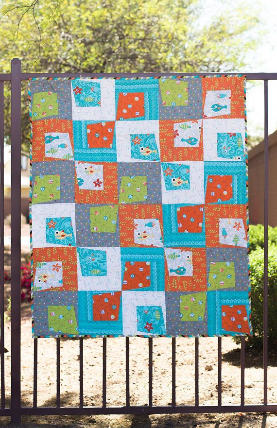 Rough And Tumble Modern Paper Pieced Bed Quilt Pdf Pattern