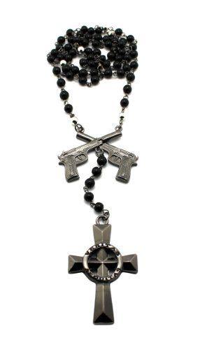 New Hematite Iced Out Boondock Saints Cross & Guns Pendant w/6mm ...