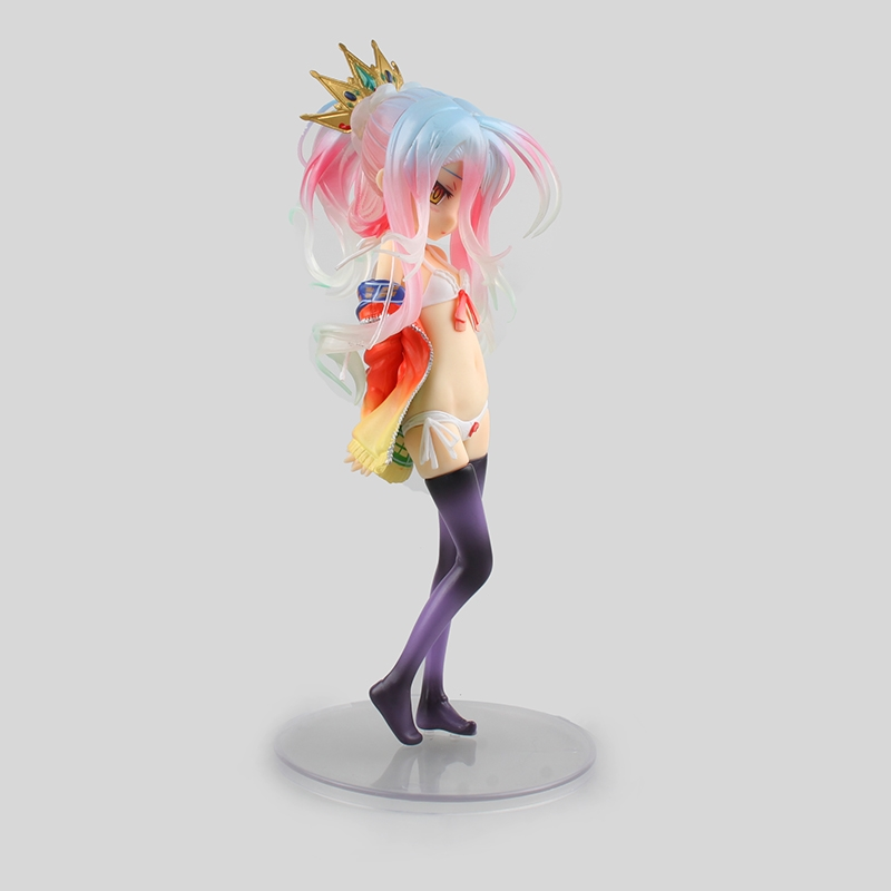 (29.92$)  Know more  - Colorful Cute Girl PVC Action Figure Anime NO GAME NO LIFE Shiro Desktop Decoration Toy 22CM BDFG6209