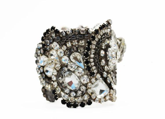 Black Crystal Cuff With Adjustable Clasp Ready to by Couturelove, $260.00