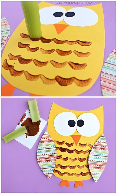Celery Stamped Paining Owl Craft for Kids - Perfect for any Fall Elementary School Unit! #fallcrafts