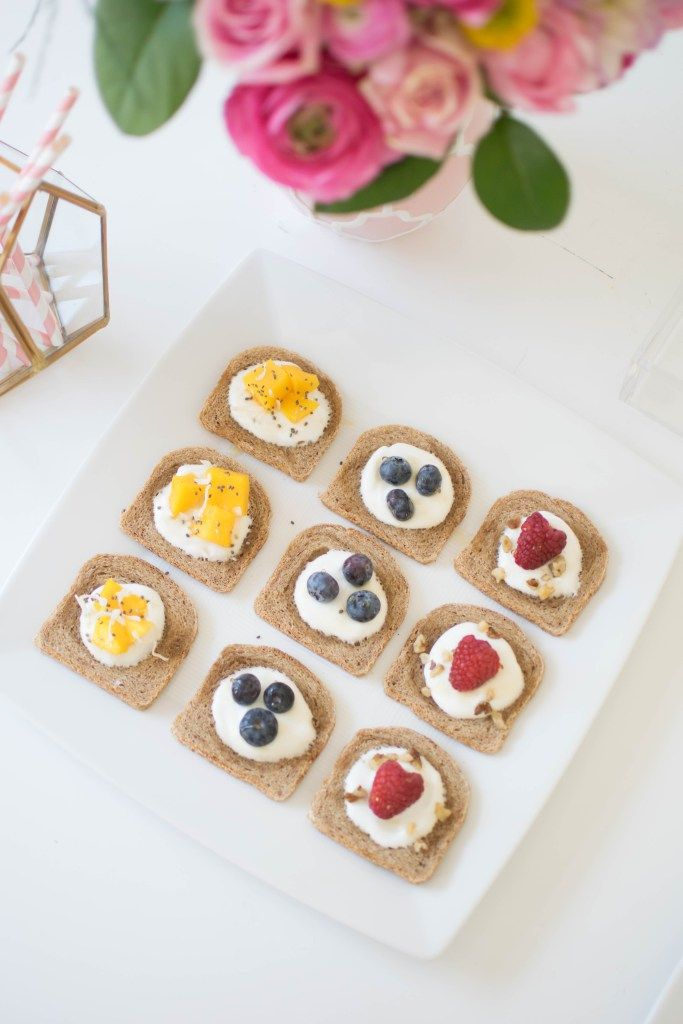 Host a lovely Mother's Day Celebration/brunch ideas/mini fruit toasts