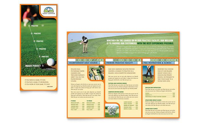 Golf Instructor and Course Brochure Design Template by - microsoft tri fold brochure template free