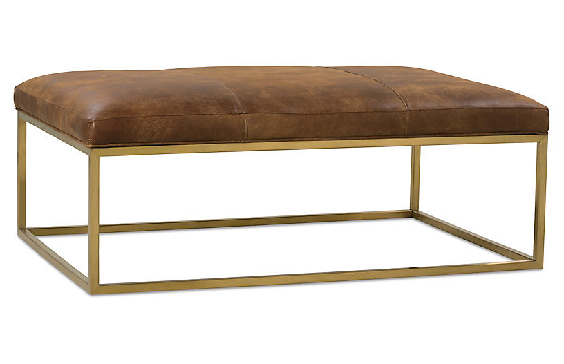 One Kings Lane Percy Cocktail Ottoman - Caramel Leather