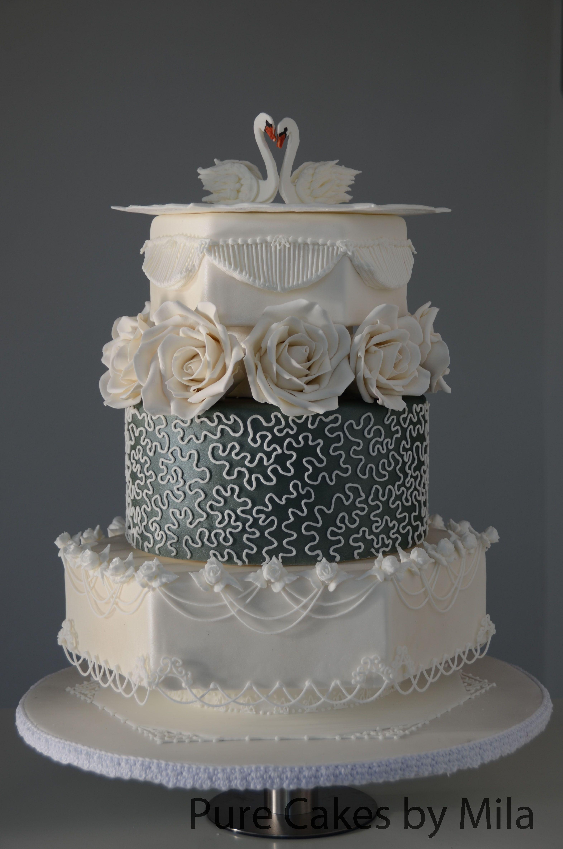 Swans Royal Icing Wedding Cake Fondant Covered Airbrushed