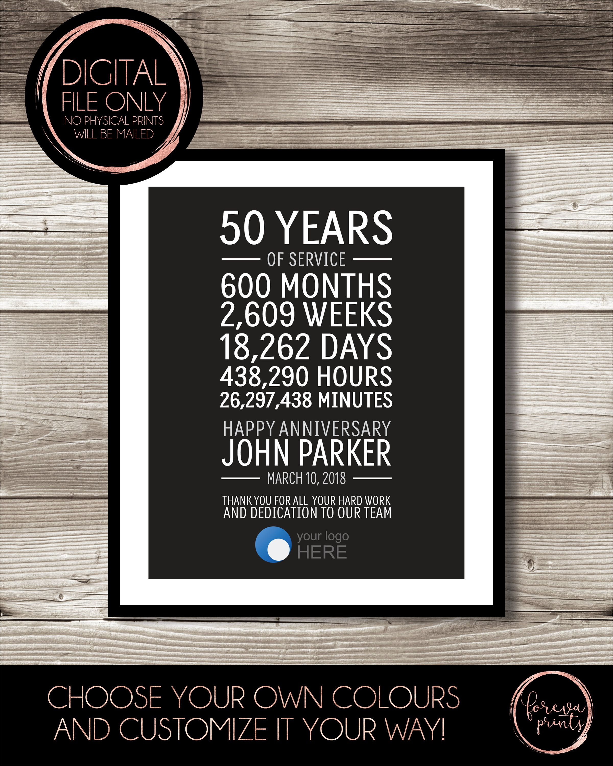 50 Year Work Anniversary Print Gift Idea Customizable Thank You Gift Years Of Service Retirement Employee Recognition Appreciation Work Anniversary Work Anniversary Gifts Employee Recognition