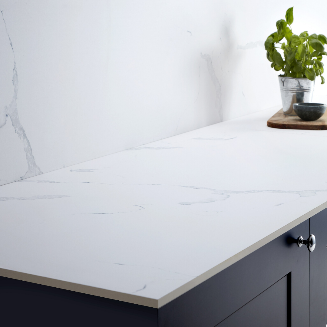 Howdens 3m X 12 5mm Square Edge White Marble Effect Compact Laminate Worktop In 2020 Laminate Worktop Colour Kitchen Units White Laminate