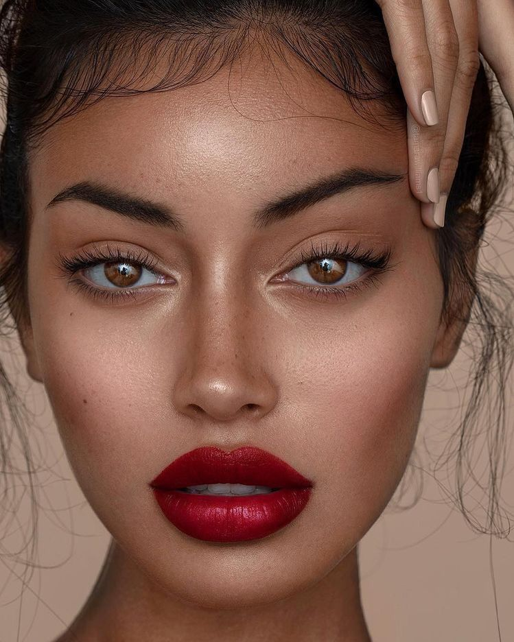 Stunning Dewy Skin With A Beautiful Red Lip And Wispy Baby Hairs