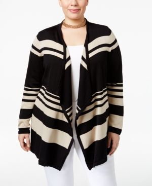 Jm Collection Plus Size Striped Open-Front Cardigan, Only at Macy's - Tan/Beige 2X